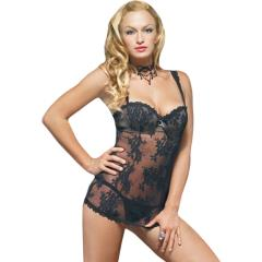 Lace Mini Dress with Underwired Bra Shell and Thong, Large, Black