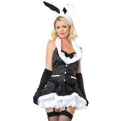 Leg Avenue Cottontail Cutie Costume, Large, Black/White