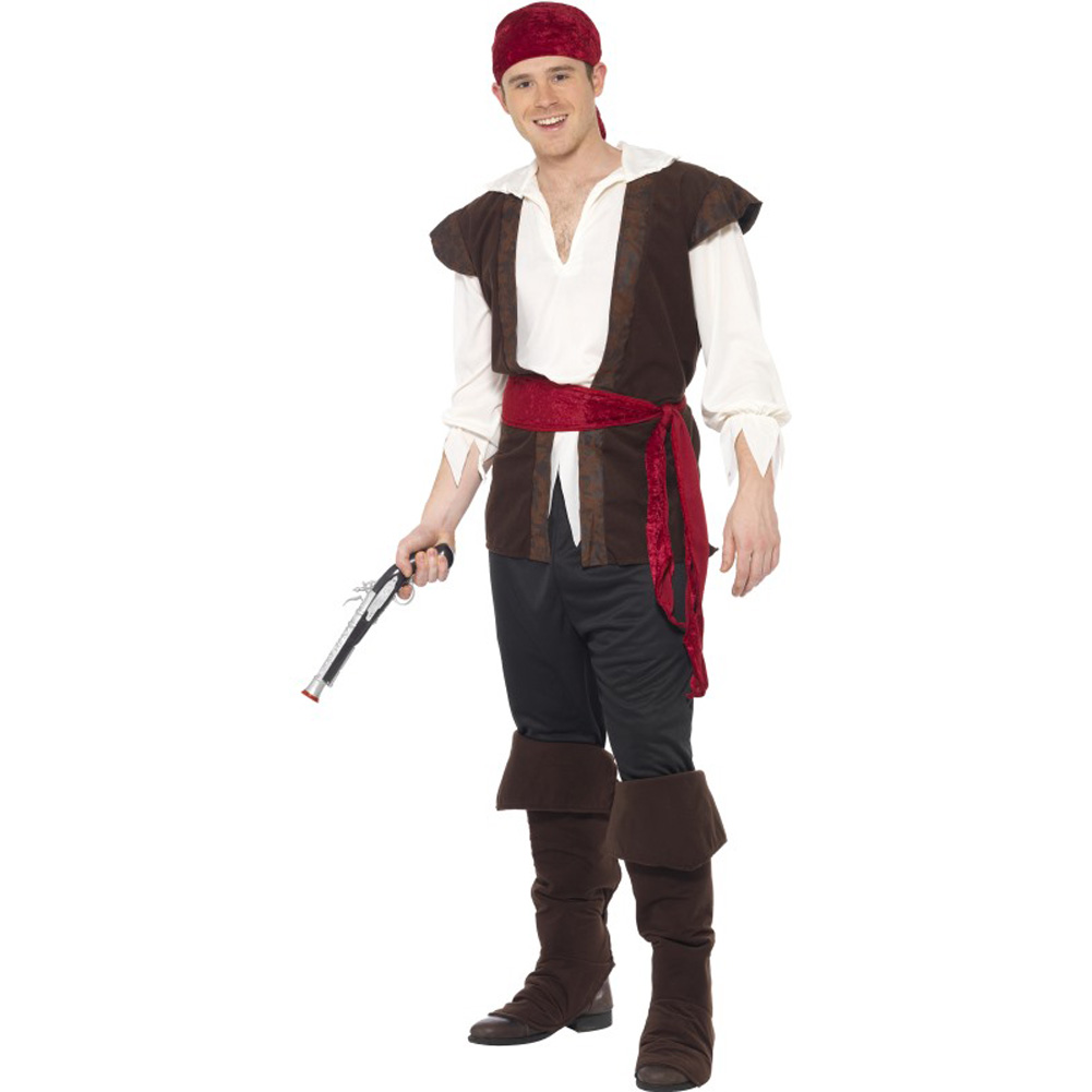 Smiffys Pirate Costume with Top, Trousers, Belt and Boot Covers, Brown/Red/White, Medium