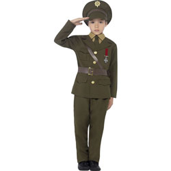 Army Officer Youth Costume, Medium, Military Green
