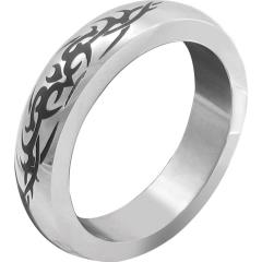 H2H Premium Stainless Steel Cockring with Tribal Design, Large 2 Inch, Chrome