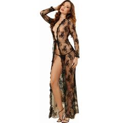 Dreamgirl Lingerie Delicate Lace Open Front Gown and G-String, Large, Black