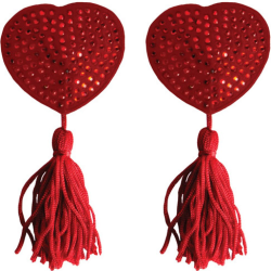 Ouch! Heart Shaped Naughty Pleasure Nipple Pasties with Tassels, Red