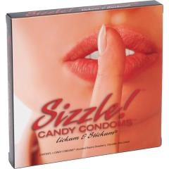 Kingman Sizzle Candy Condoms Lickum & Stickum, 3 Piece Pack, Strawberry, Chocolate, Pina Colada