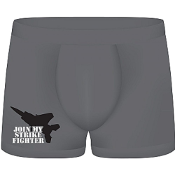 Shots S Line Join My Strike Fighter Funny Boxers, One Size, Gray
