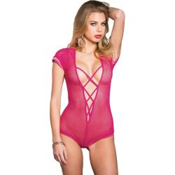 Shirley of Hollywood Stretch Fishnet Teddy Bodysuit, One Size, Hot Pink