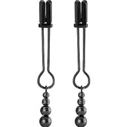 Ouch! Teasing Nipple Clamps with Tiered Beads, Chrome Black