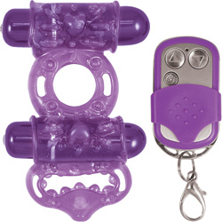 Macho Remote Control Maximum Action Dual Stimulating Cockring, Purple