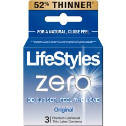 Zero Ultra-Thin Latex Condoms by LifeStyle, Pack of 3