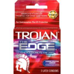 Trojan The Edge Lubricated Latex Condoms, 3 Pack
