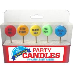 The Original X-Rated Party Candles, 5 Pack, Rainbow
