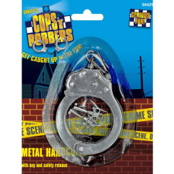 Cops and Robbers Metal Handcuffs by Smiffys, One Size, Silver